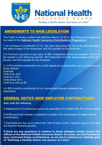 Amendment to NHIB Legislation